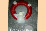 Ghirlanda natalizia piatta dietro  con angelo diametro 20 cm.