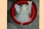 Ghirlanda Natalizia piatta dietro diametro 15 cm con angelo