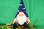 Gnomo fermaporta alto 37 cm con cappello blu