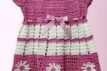 Vestitino bimba fatto a mano all'uncinetto rosa e bianco