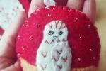 Pallina natalizia con gufetto in pannolenci