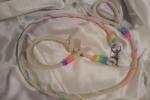 Guinzaglio con collare cordoncino arcobaleno