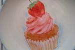 Piatto porta caramelle, dipinto a mano, soggetto cupcake
