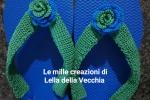Infradito con roselline uncinetto blue e verdi