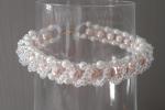 Bracciale intreccio di perle perle rosa / bianche