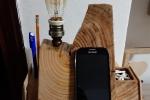 Lampada da scrivania in legno con cassettino porta oggetti
