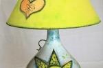 Lampada/Damigiana dipinta a mano con colori da ceramica