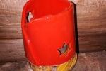 Lampada porta tealight in ceramica e legno