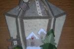 Lanterna fuoriporta in feltro con paesaggio invernale