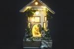 Lanterna natalizia in vetro, rivestita con decorazioni