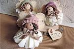 Le peoniette bambolina con felt, nastri e pasta di mais