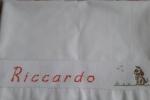 Lenzuolino con inserto bordo tela aida per ricamo nome