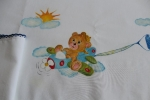 Lenzuolino per culla con orso su aereo