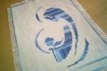 Madonna con bambino lavorati in cotone su tela yuta