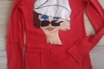 Maglietta cotone taglia media col.rosso,dipinta a mano