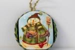 Medaglione di Natale di cm 8 realizzato con la tecnica del Patchwork senz'ago