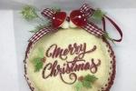 """Medaglione da appendere in pannolenci con scritta  """"Merry Christmas"""""""