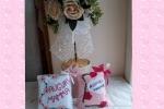 Mini cuscini in pannolenci con fiori o cuoricini