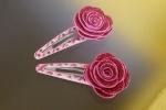 Mollette per capelli decorate con fiori gomma crepla