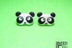Orecchini a chiodino con panda in fimo