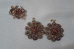 Orecchini a fiori con pendenti e anello in cristallo swaros