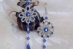 Orecchini argento al chiacchierino, cristalli zaffiro