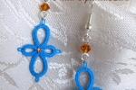 Orecchini azzurri al chiacchierino, cristalli e strass