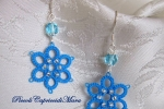 Orecchini azzurri al chiacchierino, cristalli, perline