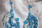 Orecchini azzurri al chiacchierino, cristallo azzurro, perl