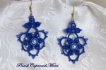 Orecchini blu al chiacchierino,cristalli blu, perle azzurre