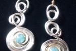 Orecchini bottone oro turchese