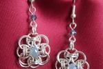 Orecchini chainmail, cristallo azzurro polvere