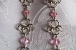 Orecchini chainmail in Argento 925 e cristalli rosa