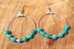 Orecchini con amazzonite e perline roccailles