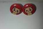 Orecchini in legno con bottoni di varie fantasie