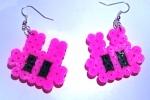 Orecchini con coniglietti fucsia hama beads