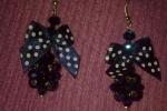 Orecchini con cristalli e fiocchetti blu