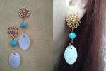 Orecchini con pendente madreperla perlina azzurra