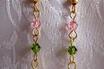 Orecchini con perla rosa e cristalli Swarovski rosa e verde
