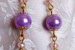 Orecchini con perle in vetro, perle lilla, cristalli rosa