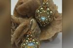 Orecchini con perle Swarovski crystal iridescent green