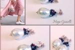 Orecchini con perle con bagno in oro rosa, pietre in zoisite