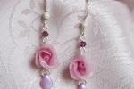 Orecchini con rosa in pasta di mais, cristalli viola