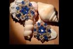Orecchini lavorati con mezzi cristalli e perline 11/0