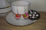 Orecchini cupcake fimo verde, rosa e rosso