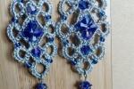 Orecchini realizzati a chiacchierino argento blu  goccia