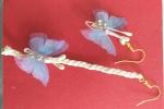 Orecchini pendenti con farfalla in tessuto