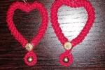 Orecchini fatti a mano all'uncinetto a forma di cuore