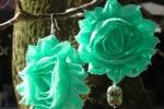 Orecchini fiori di chiffon tiffany con perle
