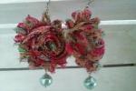 Orecchini fiori di chiffon multicolor con perle